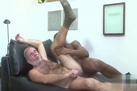 handsome Silver Daddy fucked By dark juvenile Muscle