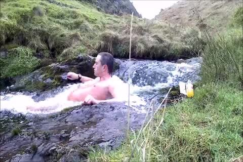 Half Hour stripped Dip In Cold Scottish Waterfall In Winter