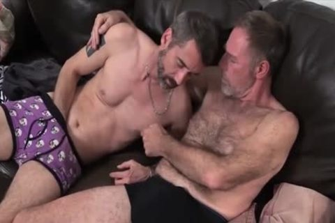 Two Dads Nailing On The Sofa pounded