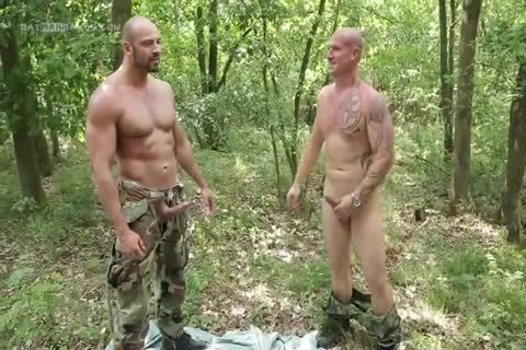 man Hard Barefucked By two Soldiers