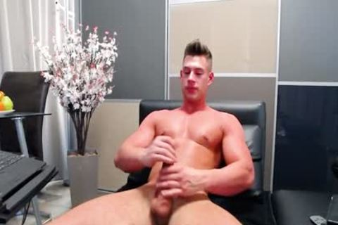 Aiden Kay On Flirt4Free - built Blue Eyed webcam dude Strokes His humongous penis