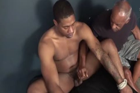 fastened darksome lad Serviced By old darksome dude