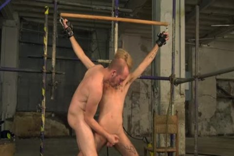 Skillful oral-job stimulation And cook jerking With Restrained Blond twink