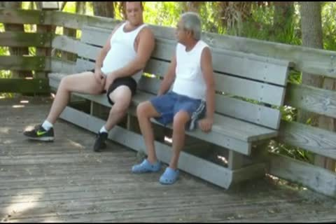 outdoors Scenes Where old man Sucks & gets boned By chubby
