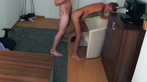 Skinny and hairy guy gets banged sideways on cam