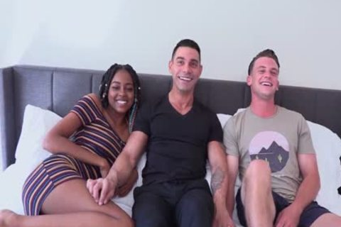 Male+Male+Female Bi trio gigantic Uncut EURO penis Marcos WRECKS taut hole On juicy Bottom twink Adam whilst juicy black Destiny Cums From Her toy!